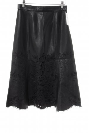 Zara Woman Falda de cuero negro modelo de punto flojo Estilo ciclista