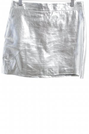 Zara Woman Leather Skirt silver-colored wet-look