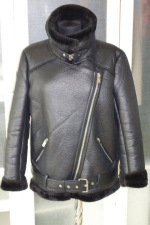 ZARA Woman long Biker fake Lammfell-Jacke in schwarz Gr.L