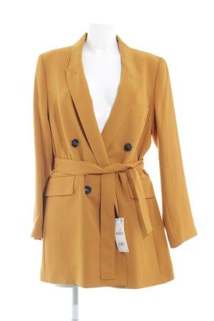 Zara Woman Long-Blazer dunkelgelb-schwarz Casual-Look