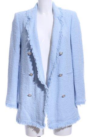Zara Woman Long-Blazer himmelblau klassischer Stil