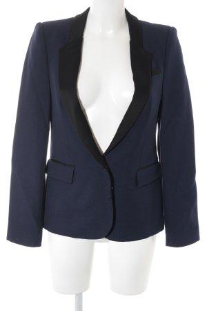 Zara Woman Long-Blazer schwarz-dunkelviolett Elegant