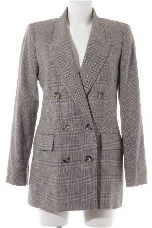 Zara Woman Long-Blazer weiß-schwarz Karomuster klassischer Stil
