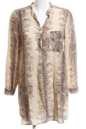 Zara Woman Long-Bluse creme-bronzefarben Animalmuster Casual-Look