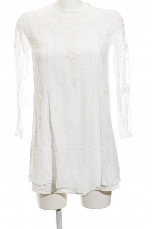 Zara Woman Long-Bluse hellbeige florales Muster Casual-Look