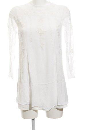 Zara Woman Blouse longue beige clair motif floral style décontracté