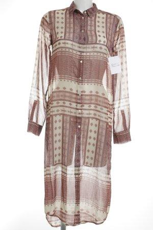 Zara Woman Long-Bluse hellbeige-rostrot abstraktes Muster Boho-Look