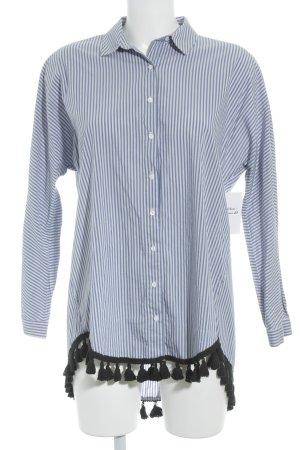 Zara Woman Long-Bluse weiß-stahlblau Streifenmuster Beach-Look