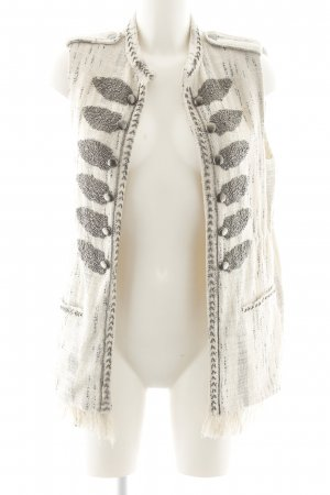 Zara Woman Long Knitted Vest cream-silver-colored elegant