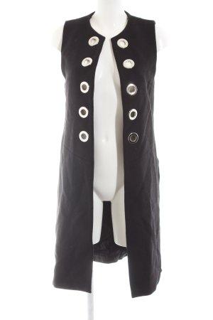 Zara Woman Lang gebreid vest zwart-zilver elegant