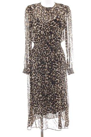 Zara Woman Maxikleid schwarz-braun Leomuster klassischer Stil