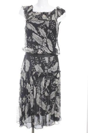 Zara Woman Midikleid creme-schwarz florales Muster Paris-Look