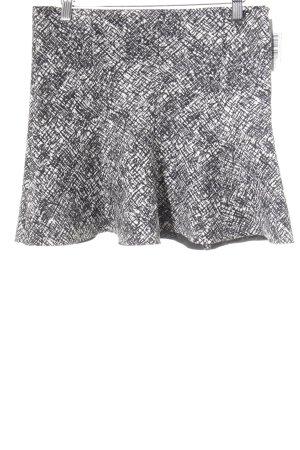 Zara Woman Midirock weiß-schwarz Mustermix Casual-Look