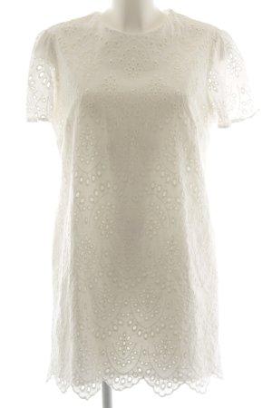 Zara Woman Minikleid wollweiß florales Muster Casual-Look