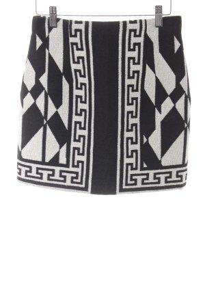 Zara Woman Minirock schwarz-hellgrau Aztekenmuster Casual-Look
