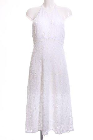 Zara Woman Vestido de cuello Halter blanco look casual