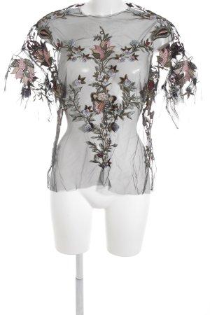Zara Woman Netzshirt florales Muster extravaganter Stil