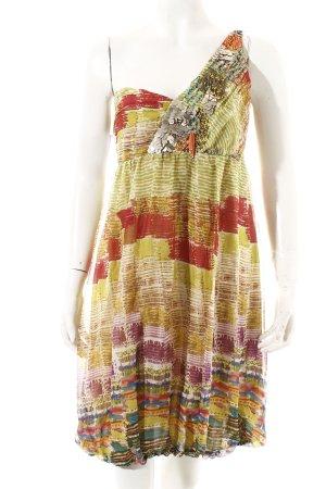Zara Woman Vestido de un hombro estampado con diseño abstracto estilo gitano