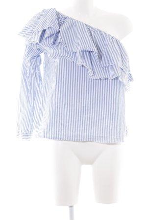 Zara Woman One-Shoulder-Shirt weiß-himmelblau Streifenmuster 90ies-Stil 093940dfab