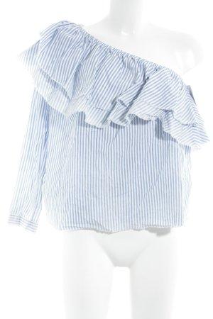 Zara Woman Camisa de un solo hombro blanco-azul celeste estampado a rayas