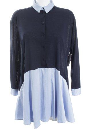 Zara Woman Oversized Bluse dunkelblau-himmelblau Casual-Look