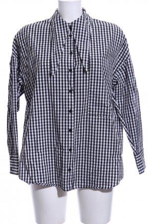 Zara Woman Oversized Bluse weiß-schwarz Karomuster Casual-Look