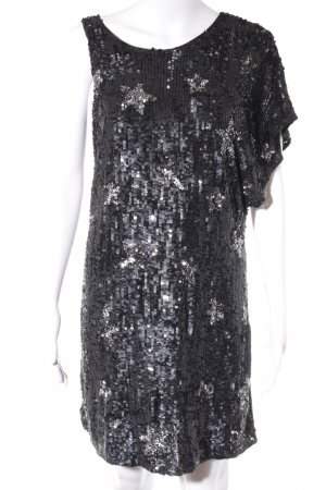 Zara Woman Pailettenkleid schwarz Sternenmuster Glitzer-Optik