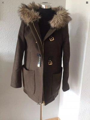 Zara Woman Parka/coat faux-fur Kragen Khaki