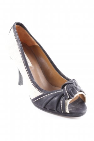 Zara Woman Peeptoe Pumps schwarz-creme Romantik-Look