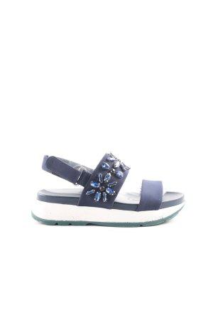 Zara Woman Plateau-Sandalen dunkelblau-weiß Casual-Look