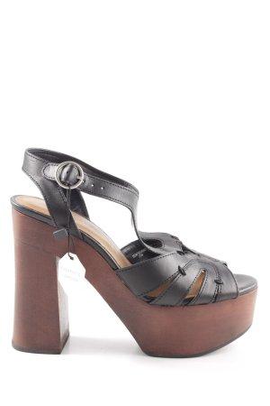 Zara Woman Plateau-Sandaletten schwarz extravaganter Stil
