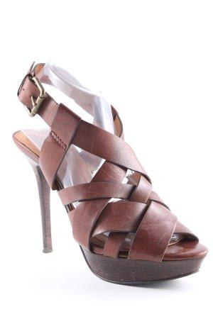 Zara Woman Sandales à talons hauts et plateforme brun foncé-brun