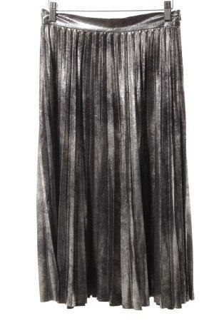 Zara Woman Falda plisada negro-color plata Apariencia metálica