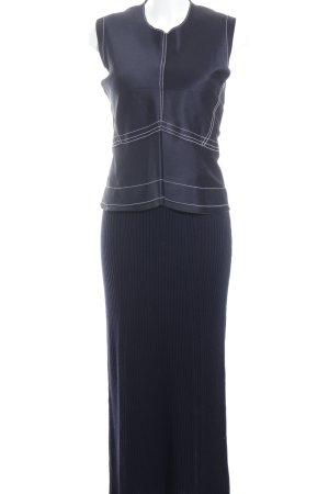 Zara Woman Vestido tipo jersey azul oscuro-blanco puro estilo minimalista