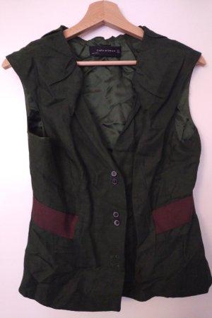 Zara Woman Mouwloze blouse bos Groen-bruin Rayon