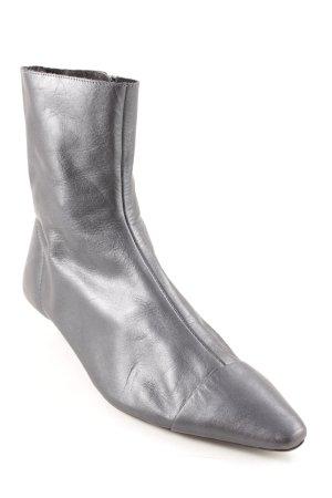Zara Woman Reißverschluss-Stiefeletten grau Glanz-Optik