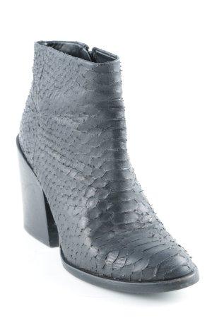 Zara Woman Reißverschluss-Stiefeletten schwarz Animalmuster Reptil-Optik