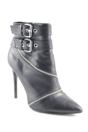 Zara Woman Reißverschluss-Stiefeletten schwarz-silberfarben Rockabilly-Look