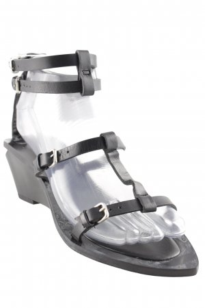 Zara Woman Riemchen-Sandalen schwarz Casual-Look