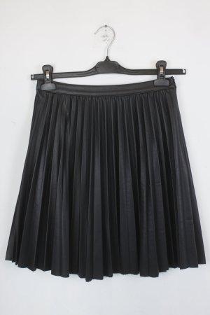 Zara Woman Falda a cuadros negro Poliuretano