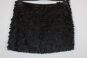 Zara Woman Rock Minirock Gr. S schwarz mit schwarzen pailletten in lederoptik (18/3/052)