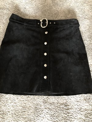 Zara Woman Leren rok zwart Suede