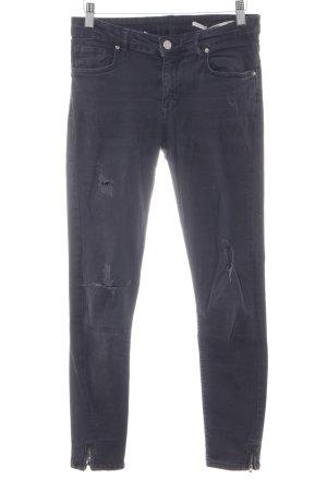 Zara Woman Pantalone a sigaretta grigio scuro stile povero