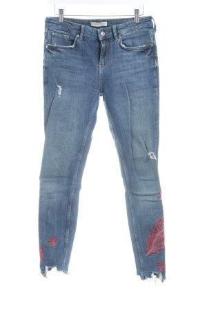 Zara Woman Tube jeans donkerblauw bloemen patroon casual uitstraling