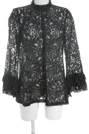 Zara Woman Rollkragenshirt schwarz Romantik-Look