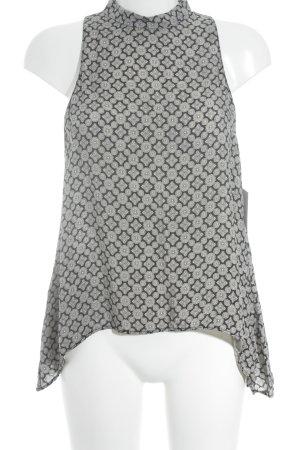 Zara Woman Rollkragentop schwarz-creme Ornamentenmuster Boho-Look
