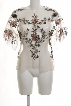 Zara Woman Rüschen-Bluse florales Muster Transparenz-Optik