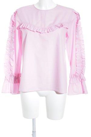 Zara Woman Blusa con volantes rosa estilo romántico