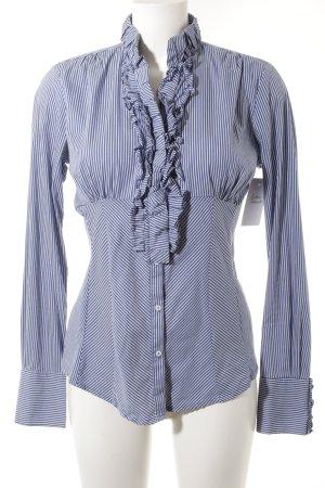 Zara Woman Rüschen-Bluse weiß-blau Streifenmuster Business-Look