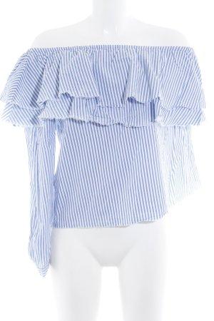 Zara Woman Rüschen-Bluse weiß-kornblumenblau Streifenmuster Casual-Look